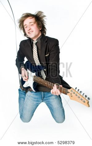 Young Man Playing Electro Guitar