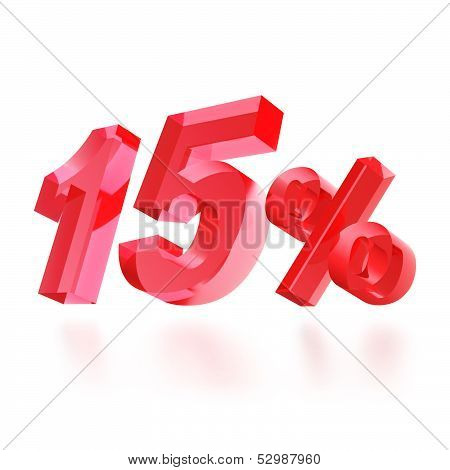 Sales concept: 15% off sign on white