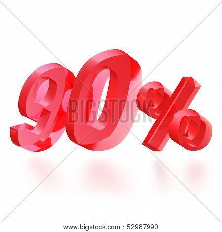Sales concept: 90% off sign on white