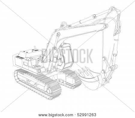 Excavator. Wire frame