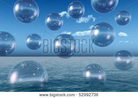 Rising water balls - digital artwork