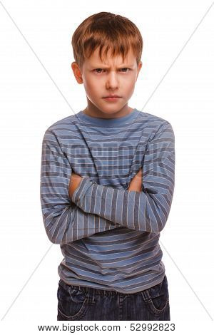 angry restless evil kid gloomy blond boy in striped sweater isol