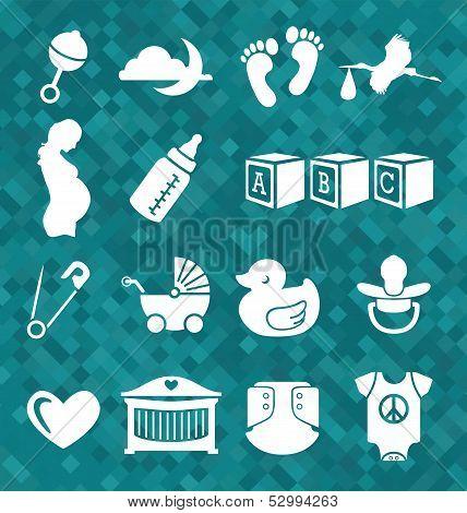 Vector Set: Newborn Baby Icons and Symbols