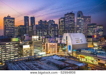 Shinjuku Financial District in Tokyo, Japan.