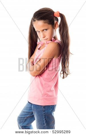 Offended girl in pink dress