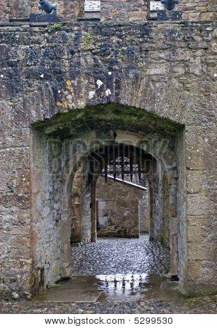 Puerta del castillo con rastrillo