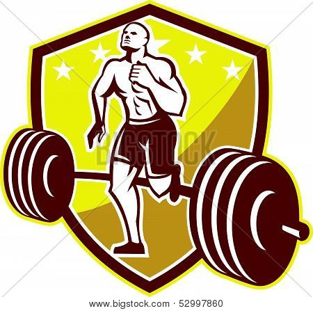 Athlete Runner Barbell Shield Retro