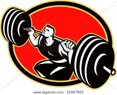 Weightlifter Lifting Barbells Retro