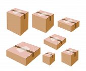 pic of shipping receiving  - Various Size of Sealed Cardboard Box with Blank White Label Isolated on White Background Ready for Shipping - JPG