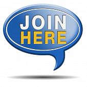 Join today and register here and now banner. Membership icon or registration sign.