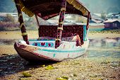 stock photo of houseboats  - Shikara boat in Dal lake Kashmir India - JPG