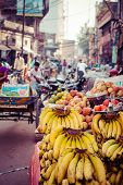 picture of bunch bananas  - Banana hanging in asian market close up