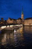 foto of zurich  - Night view of the Zurich donwtown  - JPG