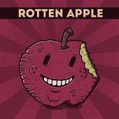 picture of maliciousness  - Funny cartoon malicious violet monster apple on the scratchy retro background - JPG