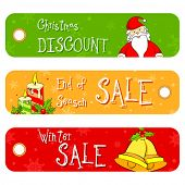 image of year end sale  - illustration of set of Christmas Sale Banner - JPG