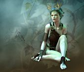stock photo of headdress  - 3D computer graphics of a girl with a golden antlers as headdress and vines in the background - JPG