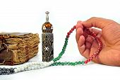 pic of prayer beads  - An ancient hand scripted Quran with prayer beads - JPG