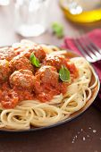 spaghetti with meatballs in tomato sauce