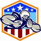 image of scat  - Illustration of an american football gridiron running back player running with ball facing front fending off with arm set inside USA stars and stripes crest shield done in retro style - JPG