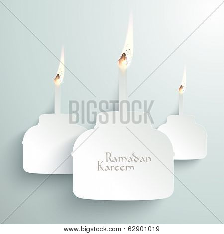 Vector 3D Paper Pelita (Muslim Oil Lamp) Burning. Translation: Ramadan Kareem - May Generosity Bless You During The Holy Month.