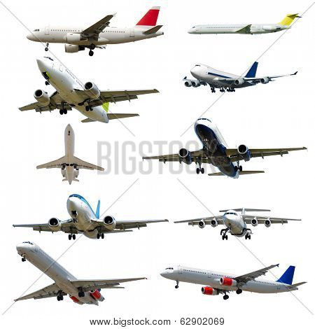 Collection with many planes on a clean white background. 3500 x 3500 pixels