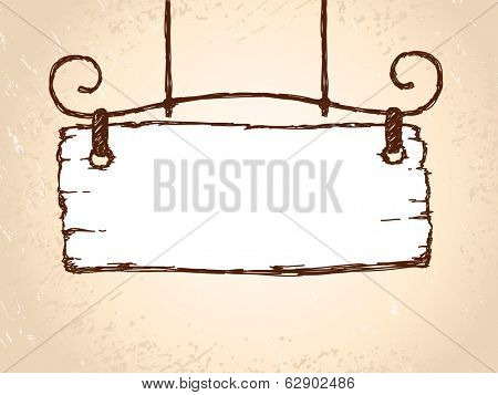 Vector sketch retro sign board wooden hanging on steel decoration