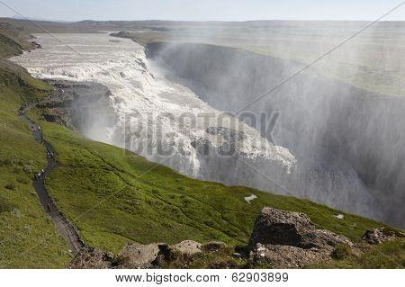 Iceland. South Area. Golden Circle. Gullfoss Waterfall.
