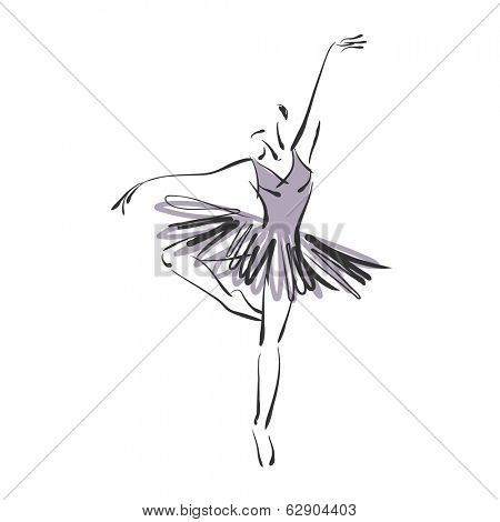 art sketched beautiful young ballerina with tutu in ballet dance on studio. Vector version is also in my gallery.