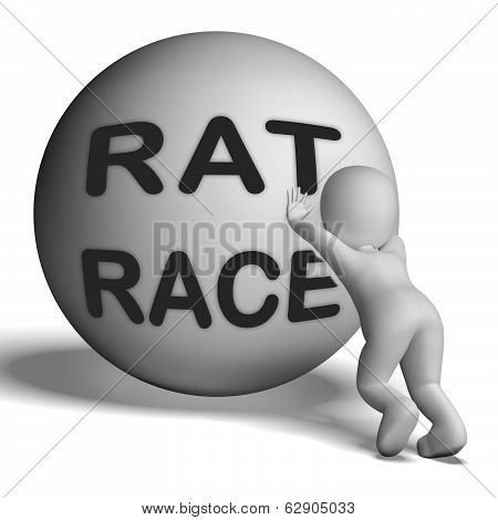 Rat Race Uphill Character Shows Hectic Work Competition