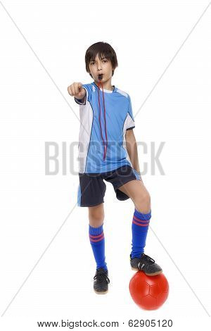 Child Soccer Judge with whistle Isolated On White Background
