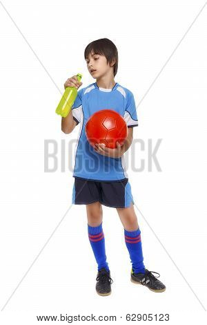 Cute Young Soccer Player Pause Hydrating