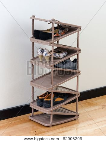 fold able plastic shoe shelf