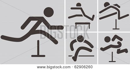 Running Hurdles Icons