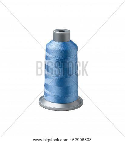 Bobbin of blue thread