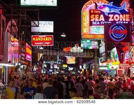 Walking Street in Pattaya at night