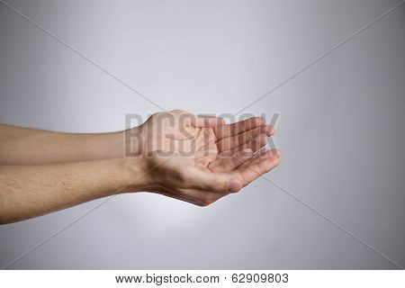 Male Hands On A Gray Background