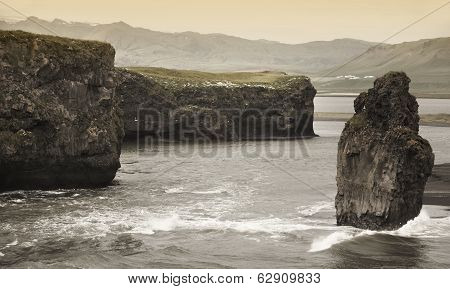 Iceland. South Area. Vik. Dyrholaey Zone. Landscape With Basaltic Rocks.