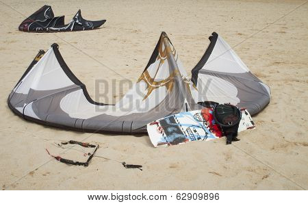 Kite Surf On A Sand Beach.