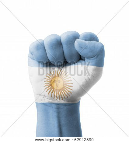 Fist Of Argentina Flag Painted, Multi Purpose Concept - Isolated On White Background