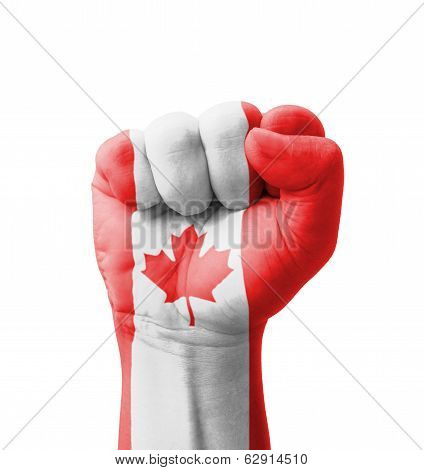 Fist Of Canada Flag Painted, Multi Purpose Concept - Isolated On White Background