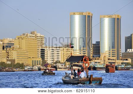 View Of Dubai Creek With Abra's Or Water Taxi's At Foreground