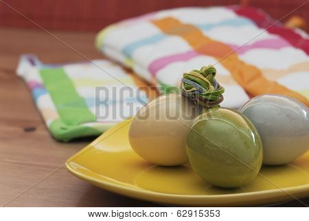 Easter Eggs On A Yellow Bowl