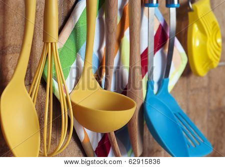 Kitchen Tools Hanging On The Wall