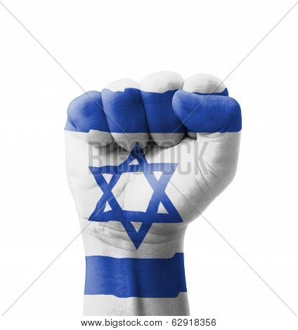 Fist Of Israel Flag Painted, Multi Purpose Concept - Isolated On White Background