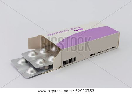 Open Medicine Packet Labelled Happiness Opened At One End To Display A Blister Pack Of Tablets, Illu