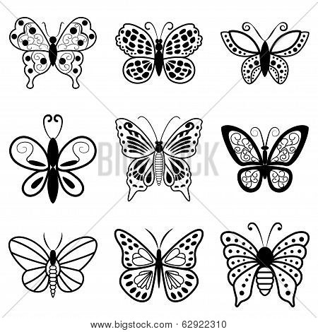 Butterflies, Black Silhouettes On White Background