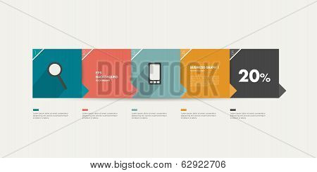 Step tutorial template for infographic. Minimalistic flat 5 steps numbered banner.