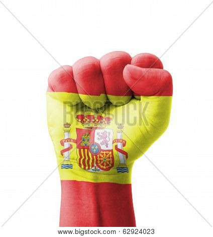 Fist Of Spain Flag Painted, Multi Purpose Concept - Isolated On White Background