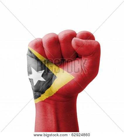 Fist Of Timor-leste Flag Painted, Multi Purpose Concept - Isolated On White Background