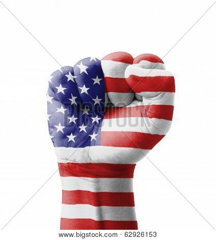 Fist Of Usa (united States Of America) Flag Painted, Multi Purpose Concept - Isolated On White Backg